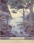 First appeared in the second English impression of The Hobbit (1938), but was the only one of the five pictures submitted for the first American edition (1938) to be rejected by the publisher. Tolkien expressed his disappointment to the publisher that they had omitted 'the River-picture, in which on the whole the amateur artist caught the imagined scene most closely.'