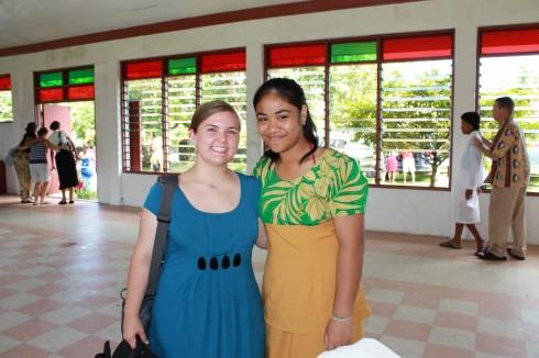 ... Sunday morning. I really like her puletasi! (Traditional Samoan dress
