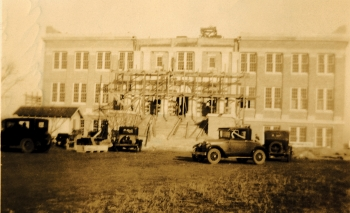 old photo of early acu building