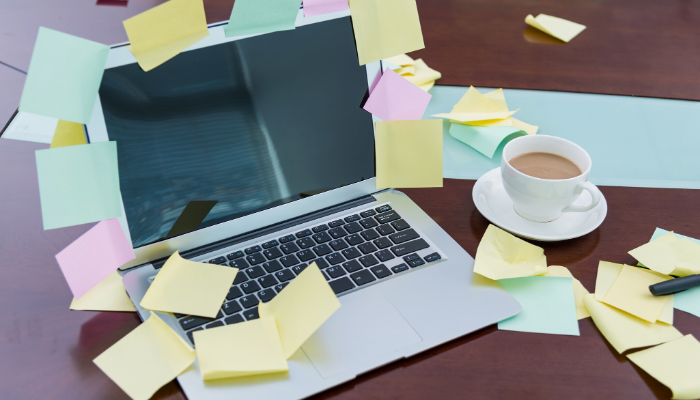 Sticky Notes Covering a Computer