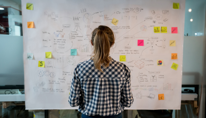 woman standing in front of a whiteboard with marketing strategies on it