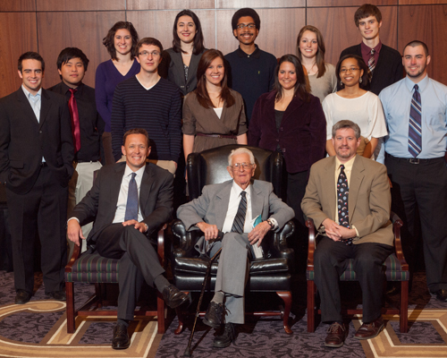 Pope last visited campus March 2, 2013. This portrait of the 2012-13 Pope Fellows includes him, ACU president Dr. Phil Schubert (front, left) and Dr. Neal Coates (front right).