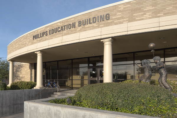 The east entrance to Phillips Education Building