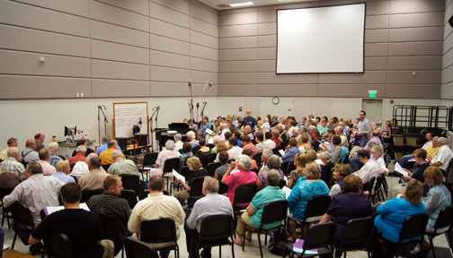 The chorus packed the  Choral Rehearsal Hall in the Williams Performing Arts Center at ACU to record an album in 2011.