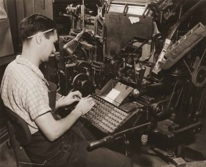 Hiler used a Linotype machine in 1958.