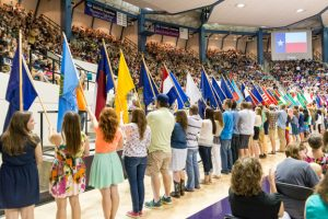 The Parade of Flags is a popular tradition at Opening Assembly.