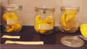 """Odor samples"" collected from East Germans are displayed in scent jars at the Stasi Museum in Leipzig."