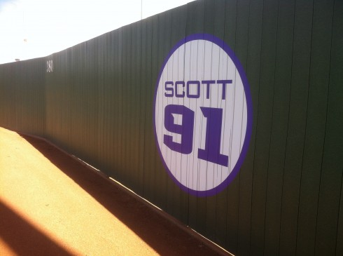 Al Scott Outfield Fence Sign