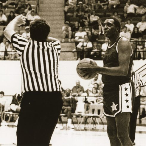 Meadowlark Lemon played in a 1989 game in Moody Coliseum for the Harlem All Stars.