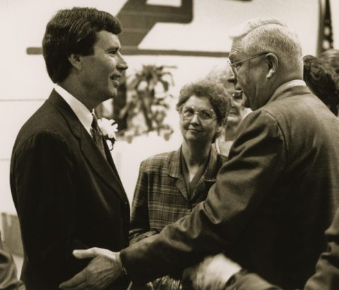 Dr. Clyde Austin (right) and his wife, Sheila, greet SMU president Dr. Gerald Turner ('68) at an event celebrating Turner's selection as ACU's Outstanding Alumnus of the Year in 1988.