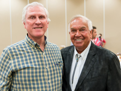 Former ACU head baseball coach Bill Gilbreth ('69) and Richardson met at the ACU luncheon on April 29. Gilbreth played for the Detroit Tigers and California Angels during his MLB career.