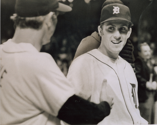 Detroit's all-star outfielder Al Kaline (left) congratulated Gilbreth on a win in his first major league game in 1971.