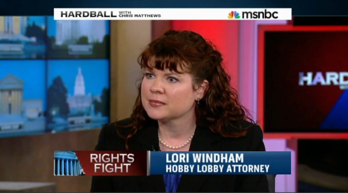Lori Windham discusses the Hobby Lobby case on MSNBC Hardball with Chris Matthews, March 25, 2014
