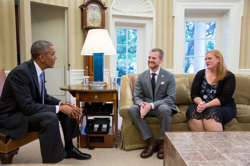 Dr. Kent Brantly and wife Amber meet with President Obama