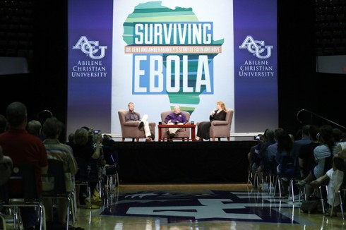 Dr. Kent Brantly (left) and his wife, Amber (right) were interviewed by ACU theology instructor Randy Harris on Oct. 12 in Moody Coliseum.