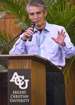 Shirley spoke to ACU students during a Chapel Forum presentation in 2009.