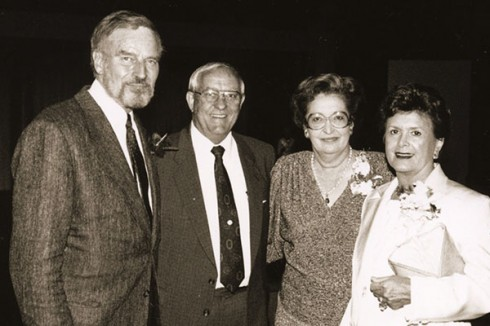 The Teagues were close friends with the Hestons – legendary actor Charlton (left) and his wife, Lydia Clarke Heston – who visited campus several times in the 1980s and established endowed scholarships at ACU.