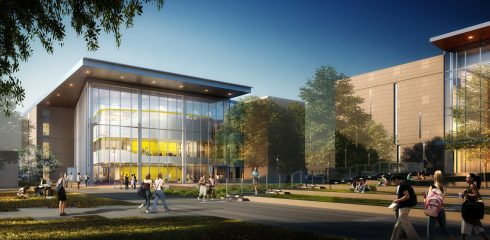 Newest renderings of Halbert-Walling Research Center show a yellow-tinted lecture hall dominating a glassed-in lobby reminiscent of other on-campus facilities, such as Williams Performing Arts Center and Hunter Welcome Center.