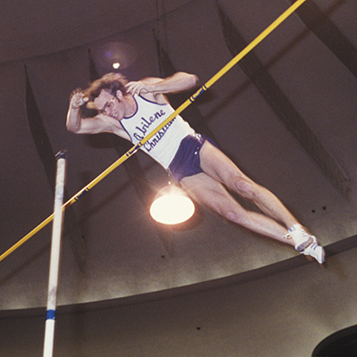 Billy Olson practiced and competed at old Gray Stadium while preparing for the 1980 Olympics and record-setting performances in the pole vault.