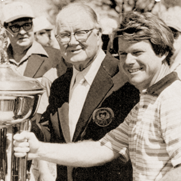 Later in life, PGA great Byron Nelson (center) mentored Tom Watson (right). Both were Masters champions.