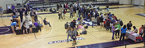 Lines form on the floor of Moody Coliseum as donor applicants gather following Chapel last Monday.