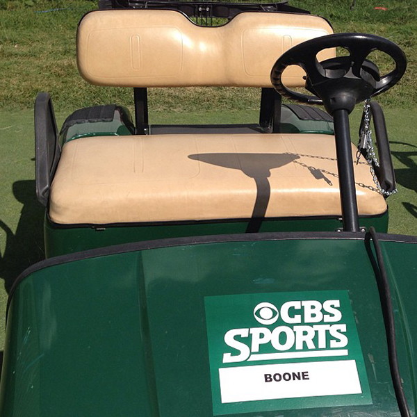 Grant Boone's CBS Cart at Masters 600x600 96