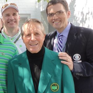 Steve Gwinn ('89) and Boone with Gary Player, who has won the Masters famous green jacket three times in his career.
