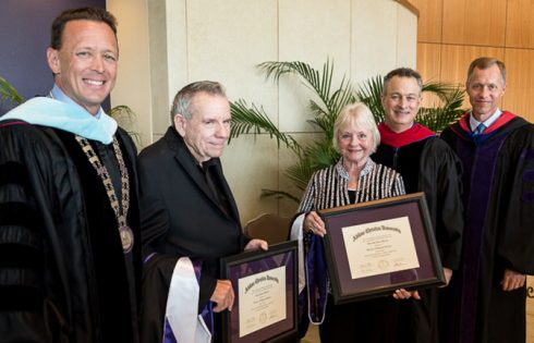 (From left) ACU president Dr. Phil Schubert, Lacy Harber, Dorothy Harber, Board chair Dr. Barry Packer and provost Dr. Robert Rhodes