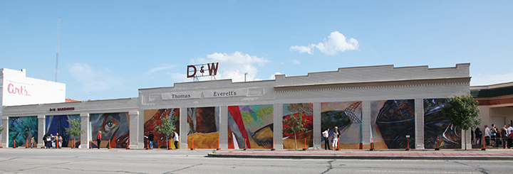 This colorful mural is a new landmark on Abilene's South First Street.