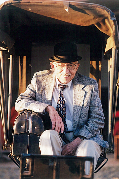One of the keepsakes of Maurice Callan, M.D., was a horse-drawn doctor's carriage similar to the one his grandfather likely used to call on patients in rural Fisher County. This image of Maurice appeared in the  Winter 2000 issue of ACU Today magazine.