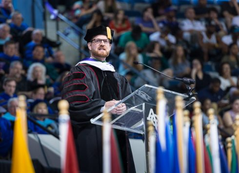 Brantly reflected on his experience with Ebola while delivering the Opening Assembly address at his alma mater.