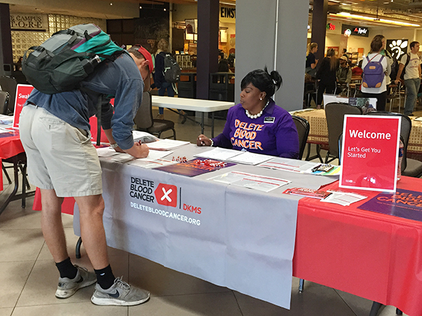 Students register for the Delete Blood cancer donor drive in McGlothlin Campus Center.