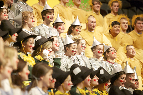 The senior class in 2013 perform as the Scarecrow, Tin Man and Cowardly Lion.