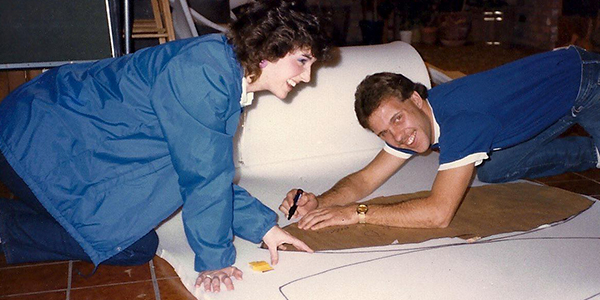 Kelly and Dodd Roberts work on Potato Head costumes in 1985.
