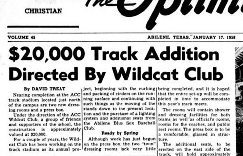 January 1958 Optimist Article Wildcat Club