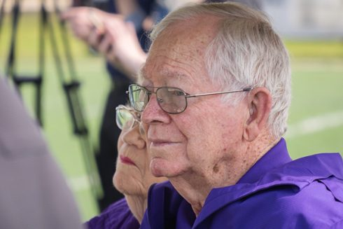 Athletics director emeritus Wally Bullington, head coach of ACU's 1973 NAIA Division I national champion, looked on during the ceremony.