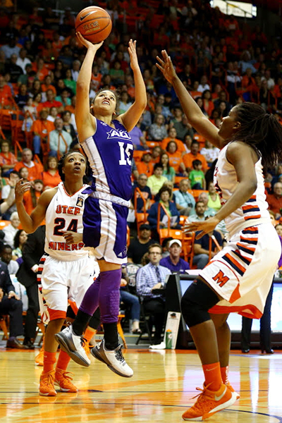 Southland Conference MVP Alexis Mason scored 11 points against the Miners.