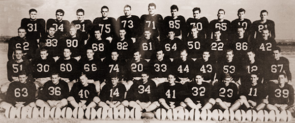 Sitton (No. 10, second from top right) was a member of ACU's only undefeated, untied team in 1950.