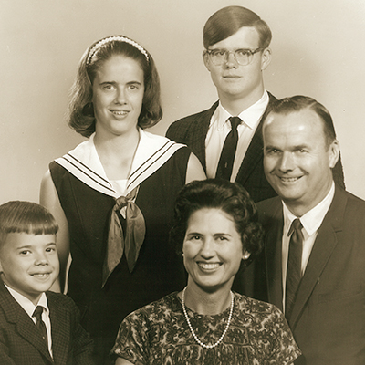 The Perry family in 1967 (from left): siblings Greg ('83), Susan ('77) and David ('73) with Earline (Davidson '48) and Lowell ('47).