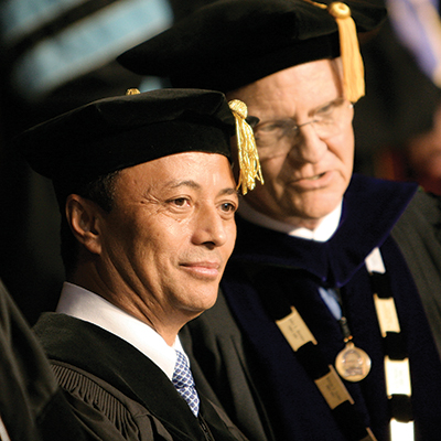 Ravalomanana, pictured here with ACU president Dr. Royce Money ('64), received an honorary doctorate from ACU in 2008.