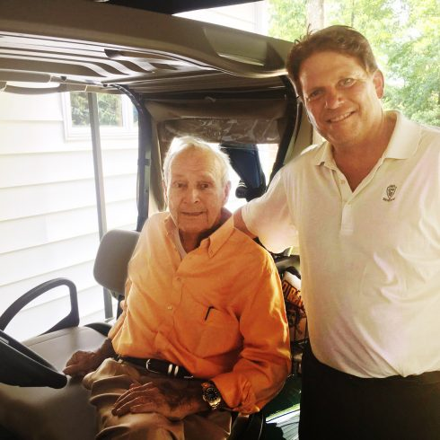 Longtime Associated Press golf writer and ACU alum Doug Ferguson visited Palmer in June 2016. Ferguson authored news of the PGA icon's passing on Sept. 25.