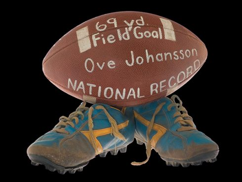 Johansson's blue Brooks soccer shoes and the ball he kicked into the record books.