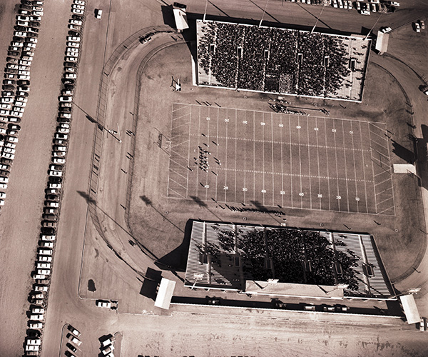 A birds-eye view of Shotwell Stadium in 1961.