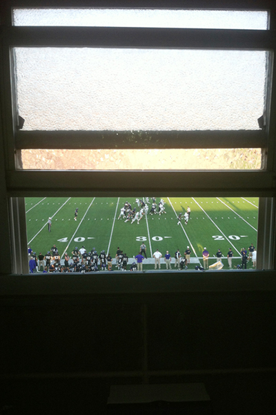 Shotwell's restroom-with-a-view of the game below.