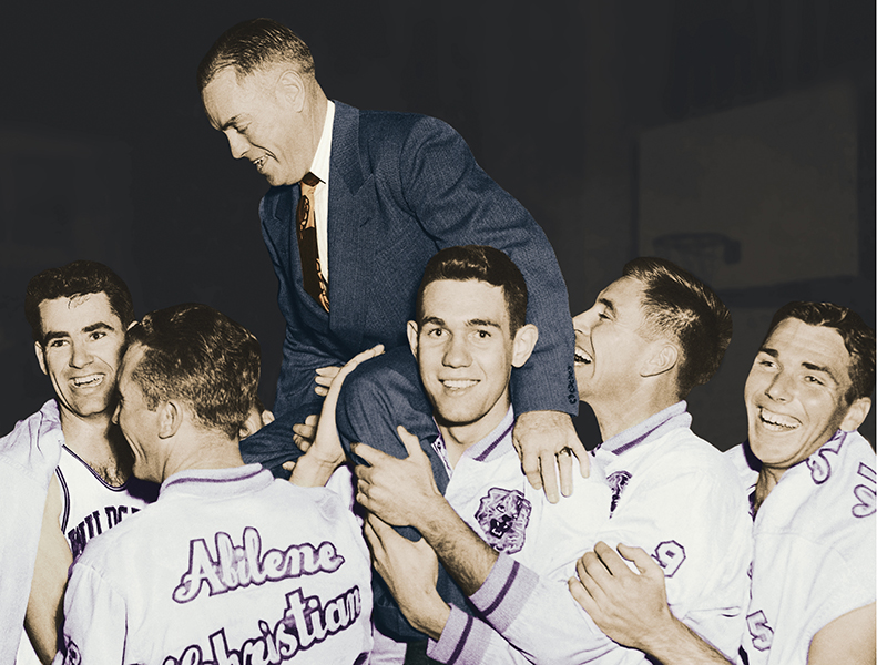 A.B. Morris is carried off the court in 1950 after his Wildcat team won its third straight Texas Conference title and 28th consecutive league game. Helping hoist their coach are (from left) Dee Nutt ('50), Omar Reeves ('50), Harold Thomas ('50), L.G. Wilson ('50) and Bill Teel ('50).