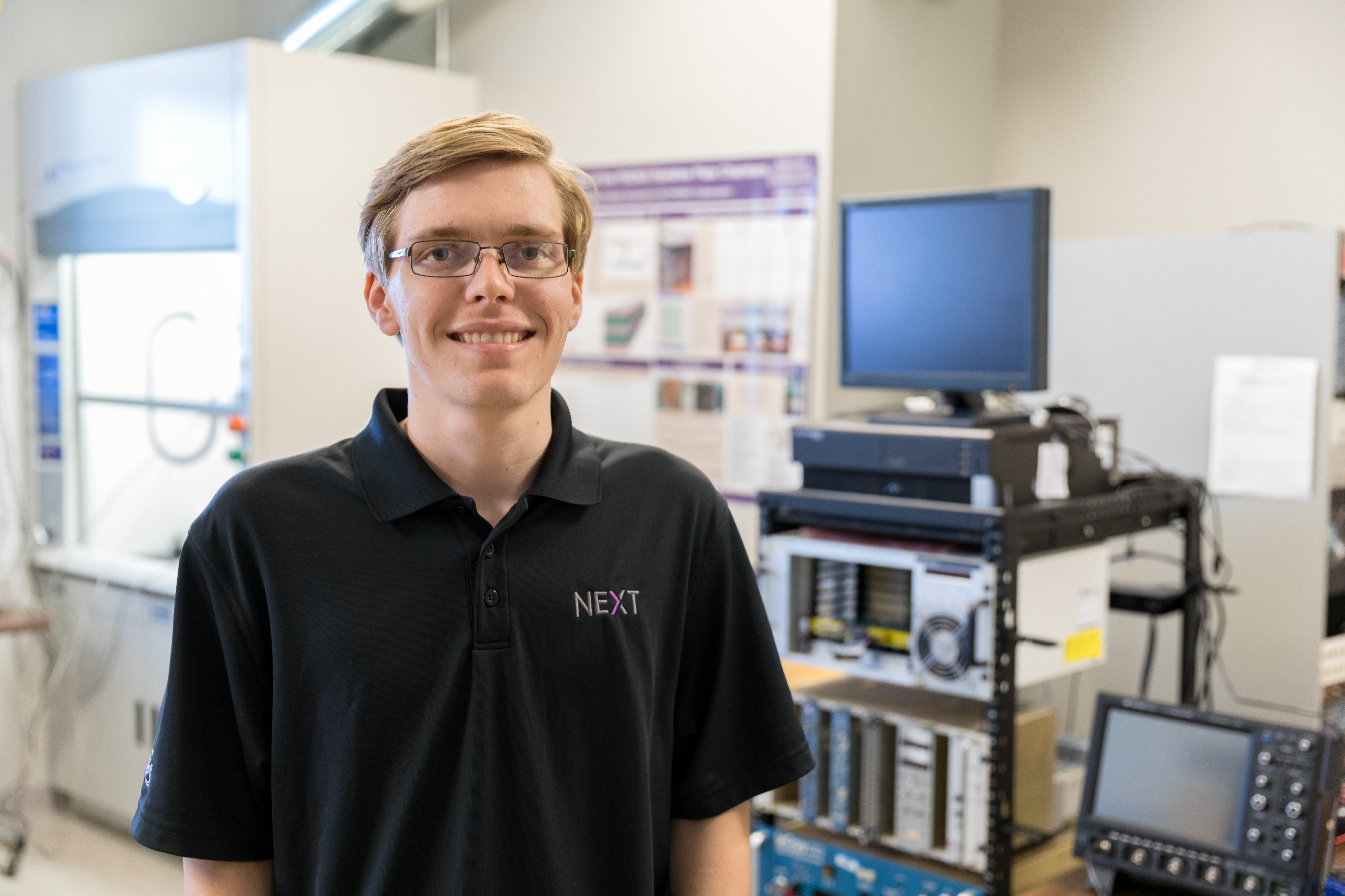 Caleb Hicks has conducted research at Fermi National Accelerator Laboratory near Chicago, Los Alamos National Laboratory in New Mexico, and now ACU's new Nuclear Energy eXperimental Testing (NEXT) Lab.