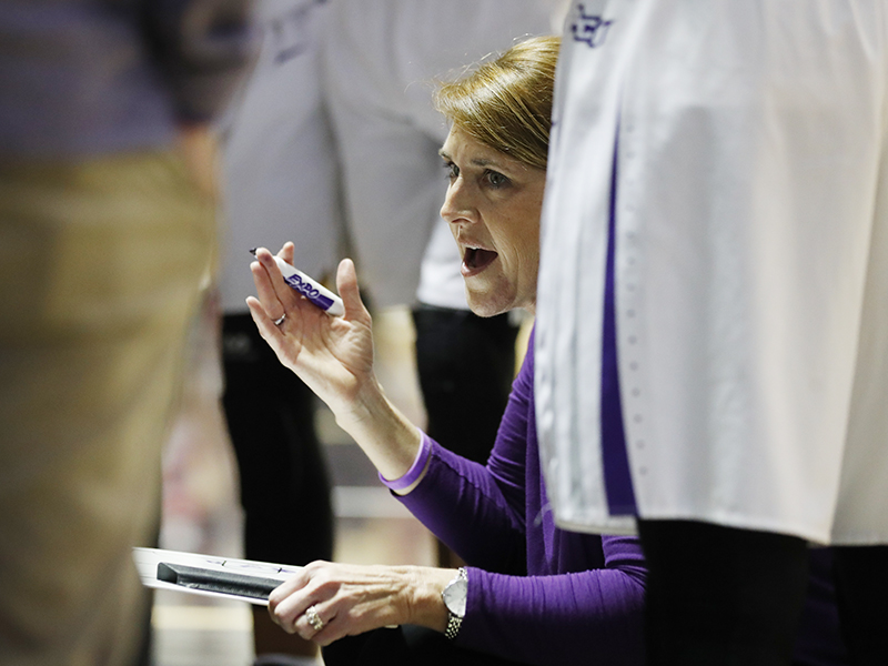 Head coach Julie Goodenough has her team in the Southland Tournament for the first time.
