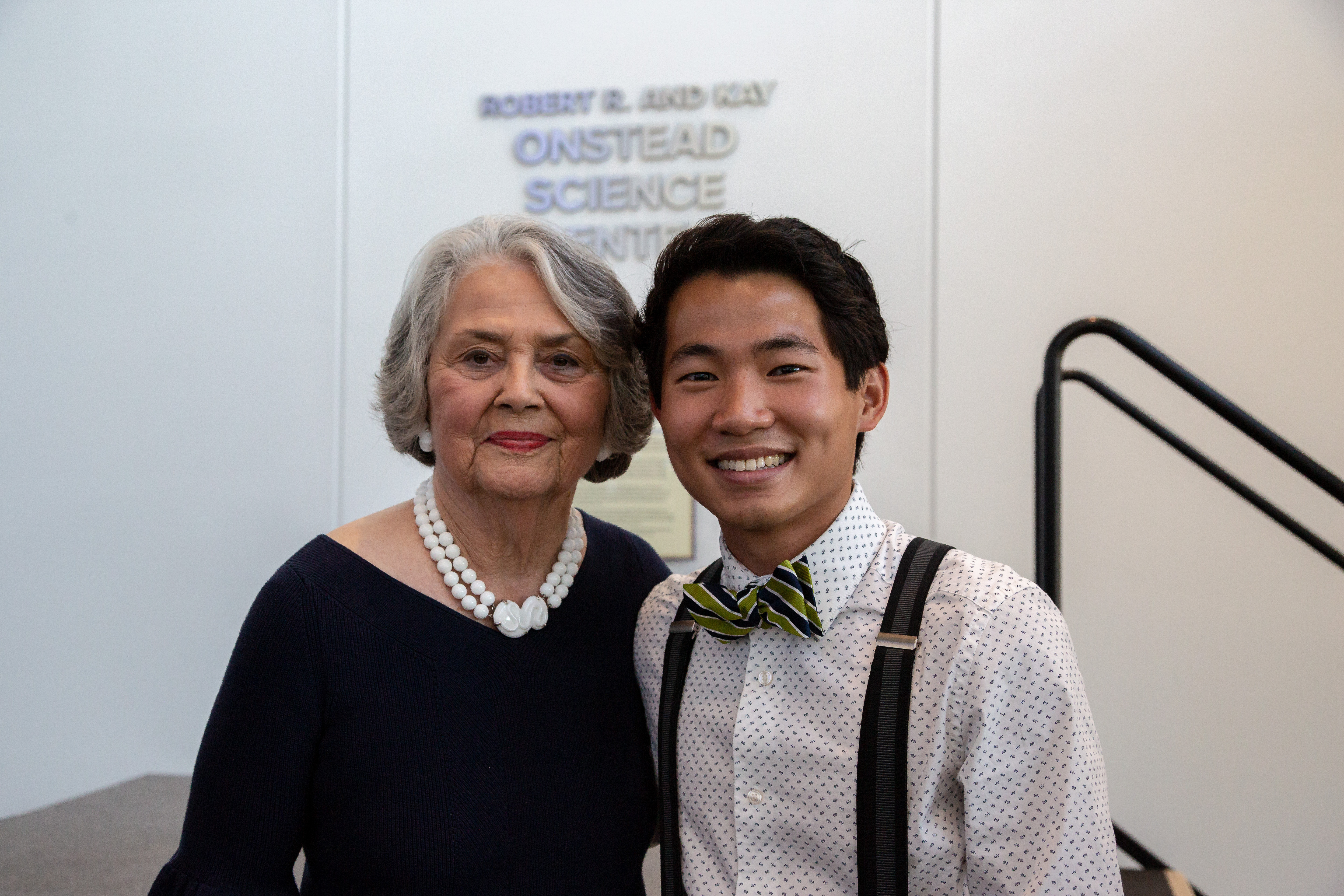 Kay Onstead poses with Bao Catteau, a sophomore biochemistry major from Denison, Texas, who is a recipient of an endowed scholarship Onstead has funded.