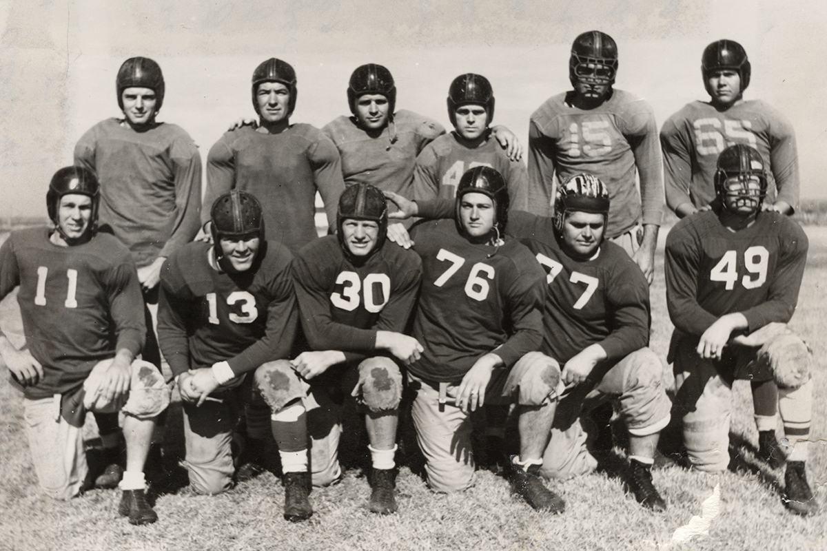 Stories and historical images abound in Lance Fleming's new book about ACU football. Here, a few of the 1941 Wildcats – some wearing early models of face masks – pose for a publicity photo during practice.