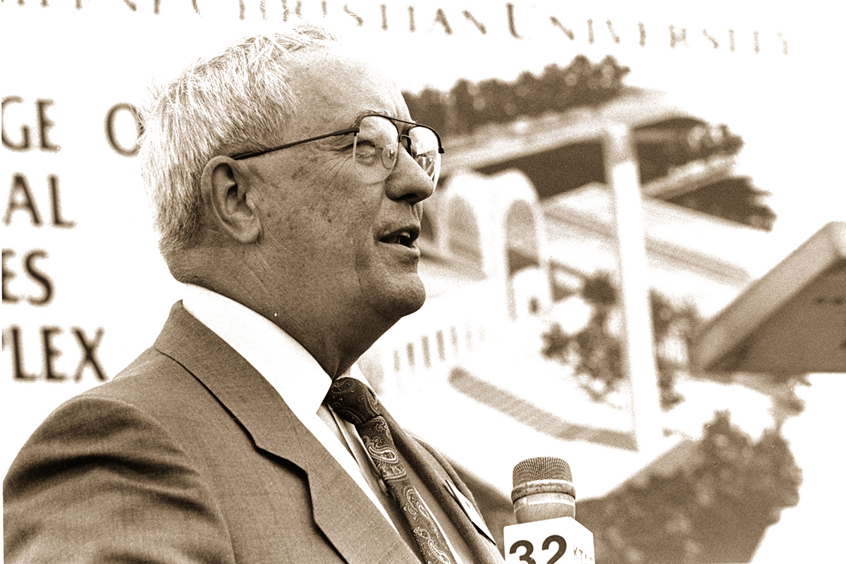 Dr. William J. Teague at the groundbreaking for the Biblical Studies Building on Aug. 31, 198.7